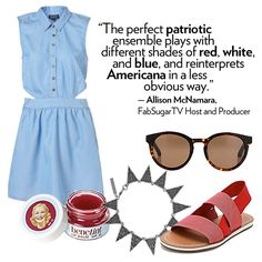 Loving a pretty preppy dress for the 4th of July (and flat red sandals)