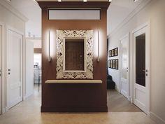 Прихожая, которая встречает нас зеркалом в декоративном обрамлении. Справа вход в хозяйскую спальню и детскую комнату, слева ванная и санузел, сразу за перегородкой гостиная и кухня. Для визуального облегчения перегородки пространство сверху прорывает вставка из матового стекла. 📣 #прихожая_iD #interideg #interiordesign #designstudio#houseidea #homedecor #interiordecor#homedesign #интерьер #интерьеры #дизайнинтерьера#дизайн_интерьера #дизайнинтерьеров#дизайнеринтерьера #дизайн#архитектура…