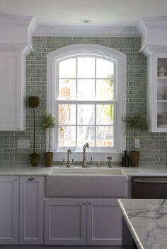 Kitchen Idea...tiled all around the window.