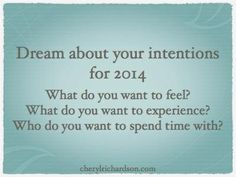 Intentions for 2014