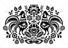 Polish Floral Embroidery with Roosters - Flourishes / Swirls Decorative