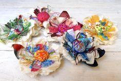 OOAK Cololrful Flower Brooch --- Handmade Fabric Flower Pin --- Dress Flower --- Sash Flower --- TAGT