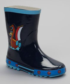 Look at this C'est Le Pied Blue Li'l Viking Rain Boot on #zulily today!
