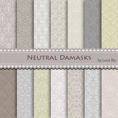 Neutral Digital Paper: Embossed Damasks scrapbook by Lunabludesign