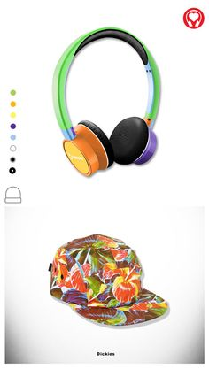 Summer gift: #Bright customized headphones inspired by #Dickies cap