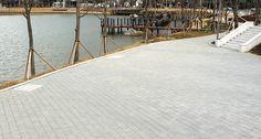 대구 수성못 보도블록 시공현장, 에코청진, 네오스톤 블록, 보도블럭, 공원