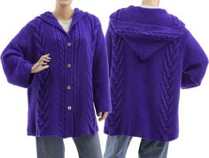 Hand knitted hooded cardi oversized hooded sweater von classydress