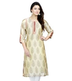 Beige Printed Cotton Silk Long Kurta