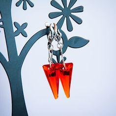 """Купить Серьги с кристаллами Сваровски """"Зубы дракона"""" - оранжевый, огненный, hyacinth, Сваровски, серьги сваровски"""