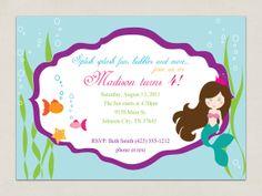 Printable INVITATION  Mermaid Party by TheSplendidShindig on Etsy, $10.00