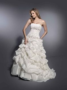 Ball gown floor-length organza bridal gown with ruffle embellishment
