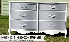 Gray and white are a great combination when you don't want to go too bold. French Country Dresser Makeover with Homemade Chalk Finish Paint  via RainonaTinRoof.com