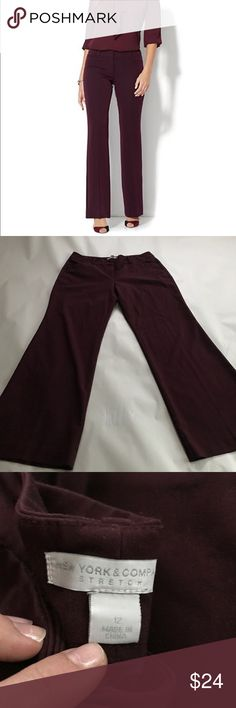Wide Stretch Work Trousers From my sister-in-laws work closet so excellent condition. Gorgeous merlot color. Perfect for the fall and winter seasons we are headed into. New York & Company Pants Trousers