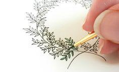 Drawing tutorial: 10 Ways to Draw Laurel Wreaths Wreath Drawing, Painting & Drawing, Card Drawing, Doodle Drawings, Doodle Art, Flower Drawings, Postman's Knock, Illustration Blume, Karten Diy