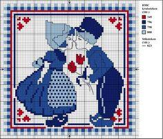Free PDF Cross-stitch Graph (opens as PDF file). Dutch couple in red white and… Cross Stitch Numbers, Cross Stitch Charts, Cross Stitch Designs, Cross Stitch Patterns, Pixel Crochet, Crochet Cross, Blue Tapestry, Tapestry Crochet, Cross Stitching