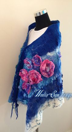 www.nadinsmo.com Hand felted amazing pure merino wool and chiffon scarf shawl with small chiffon flowers,silk fibers,soya,angora yarn and many more