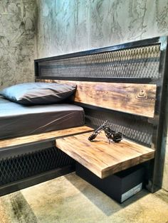 industrial Metal and wood bed