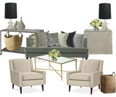 living room option #2 - room and board hutton sofa, robert abbey jayne beige oat lamps with black fenchel shades by onestorybuilding, via Flickr