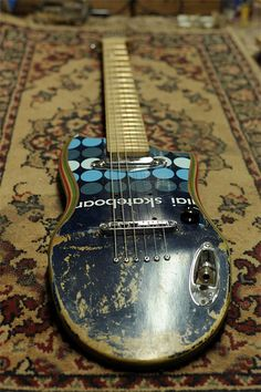Electric guitar made from old skateboards!