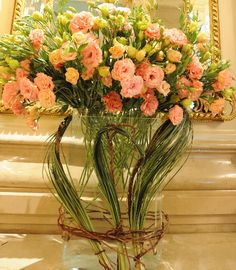 Floral Art with pink lisianthus