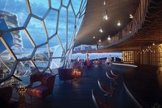 The luxurious Ocean Nebula Hotel concept is located in New Zealand, and is situated on shallow waters a few miles from the main city. The isolated