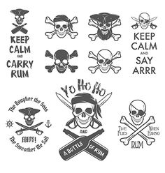 Set of pirate themed design elements vector 1612873 - by ivanbaranov on VectorStock®