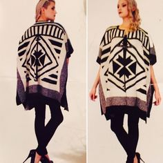 "BCBGMAXAZARIA BLK/Cream Poncho/cape Sweater Thick, warm and soft. Material; 85% Acrylic/13%Nylon/2%Spandex. This gorgeous wrap  has a silver clip closure 8"" down from scoop neck. Size is L/XL, Measures 36"" in total length. BCBGMaxAzria Sweaters Shrugs & Ponchos"