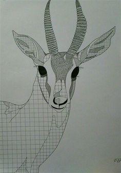 Gazelle pen zentangle drawing