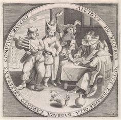 Anonymous | Februari: Vastenavond, Anonymous, Crispijn van de Passe (I), Maerten de Vos, 1574 - 1687 | De maand februari: interieur met gemaskerde figuren en een dobbelend paar rond een tafel die Vastenavond vieren. Linksboven het teken van de dierenriem dat bij de maand februari hoort: Vissen. De prent heeft een omlijsting met een randschrift in het Latijn dat verwijst naar het feestvieren in de koude maand februari. Kopie in spiegelbeeld naar de gelijknamige prent van Crispijn van de Passe…