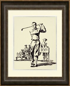 Vintage 1932 Golfer - Archival Print.  Based on The Beacon 1932 magazine cover. Printed on Archival Heavyweight Paper. One for the golfer's wall. https://www.zazzle.com/vintage_1932_golfer_archival_print-228544837898361863 #golf #print #1930s #vintage #sports