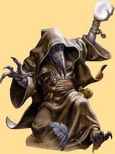 Halfling Warlock who wears a hood and plague doctor's mask.