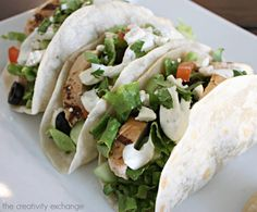 Greek Salad Tacos with a Cucumber Dill Dressing and Grilled Chicken. {The Creativity Exchange}