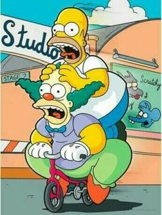 The Simpsons: Homer Simpson and Krusty The Clown Es Der Clown, Le Clown, Homer Simpson, Krusty Der Clown, Cartoon Art, Cartoon Characters, Cartoon Character Tattoos, Los Simsons, Old Posters