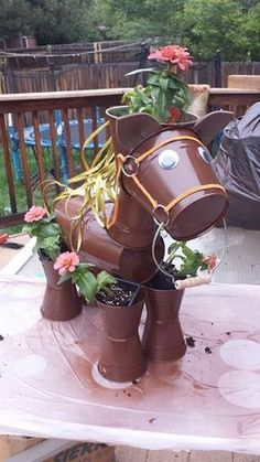 Fresh Decorate your garden by making this clay flower pot horse  YG33