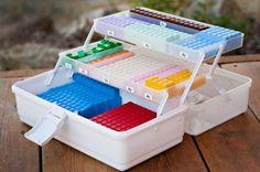 Use an inexpensive craft store tackle box to organize Math U See blocks.