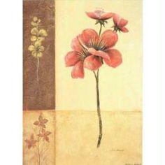 Image 3D Fleur - Fleur rouge sur fond à carreaux 24 x 30 cm