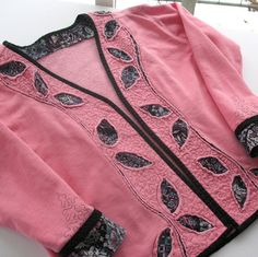 Upcycled Sweatshirt Jacket Pink and Black by KathyKinsella on Etsy
