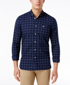Lacoste Men's Windowpane Check Cotton Shirt     macys.com