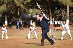 Feb 18 David Cameron goes batting for Britain in India