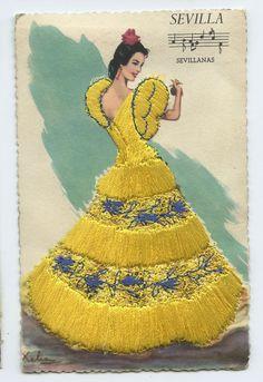 Embroidered Silk Fabrics Spain Flamenco Dance Ethnic Dress 1960s Postcard GA40 | eBay