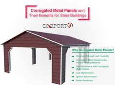 What are corrugated metal panels?Why should you choose them over other roofing or siding materials?Read all the benefits of these panels for steel buildings Metal Carports, Metal Garages, Metal Storage Buildings, Steel Buildings, Rv Covers, Metal Building Kits, Siding Materials, Metal Panels, Corrugated Metal
