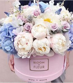Bloom de Fleur bouquet for the win, complete with peonies and hydrangeas. Bloom de Fleur bouquet for the win, complete with peonies and hydrangeas. Peonies And Hydrangeas, Peonies Garden, White Peonies, Peonies Bouquet, Purple Peonies, Yellow Roses, White Roses, Pink Roses, Amazing Flowers