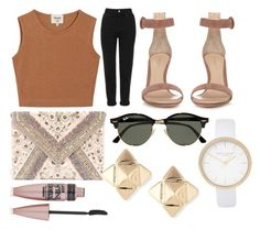 """""""18"""" by diorviolet ❤ liked on Polyvore featuring Topshop, Samuji, Gianvito Rossi, LULUS, Ray-Ban, Valentino, River Island and Maybelline"""