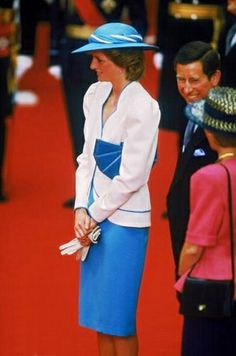 1986-07-01 Diana and Charles at Victoria Station to meet the President of Germany, Richard Von Weizsacker and his wife Marianne on a State Visit to Britain