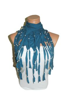 Oil Blue Women scarf Fringed and beaded by WomanStyleStore on Etsy, $23.90