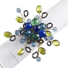 Teal Beaded Napkin Ring. Wonder if I make these....