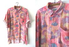 Tie Dye Psychedelic Button Down Seapunk 90s by BuddyBuddyVintage