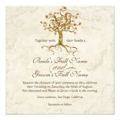 Swirl Tree Roots Antiqued Parchment Wedding Announcements