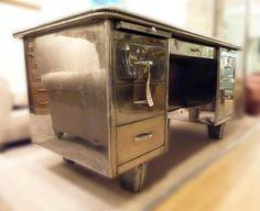 tanker desk | AMAZING POLISHED STEEL FRENCH TANKER DESK C1950 - Images hosted at ...