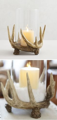 Antler Decorative Lighting: Bring the beauty of nature indoors. This hurricane adds warm, rustic charm to a dining table or mantel. #antlerlighting #rusticlighting #fallcandles #falldecor #thanksgiving #fall